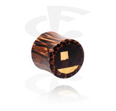 Double flared-plugi, jossa eri puukerroksia