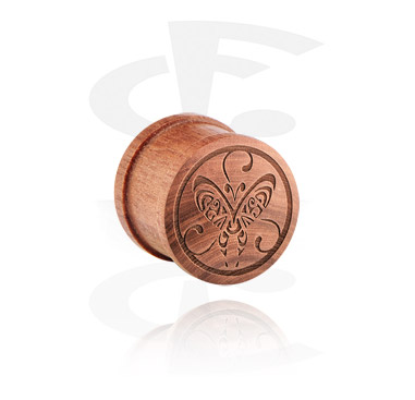 Tunely & plugy, Ribbed Plug s Laser Engraving, cherry wood