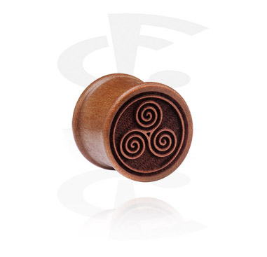 Tunele & plugi, Ribbed Plug z Laser Engraving, cherry wood