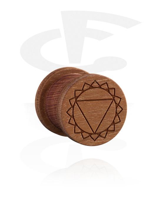 Tunele & plugi, Ribbed Plug z Laser Engraving, Drewno wiśniowe
