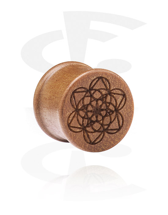 Tunnels & Plugs, Ribbed Plug with Laser Engraving, Cherry Wood