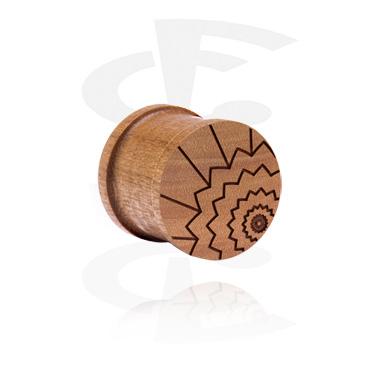 Tunele & plugi, Ribbed Plug z Laser Engraving, cherry wood