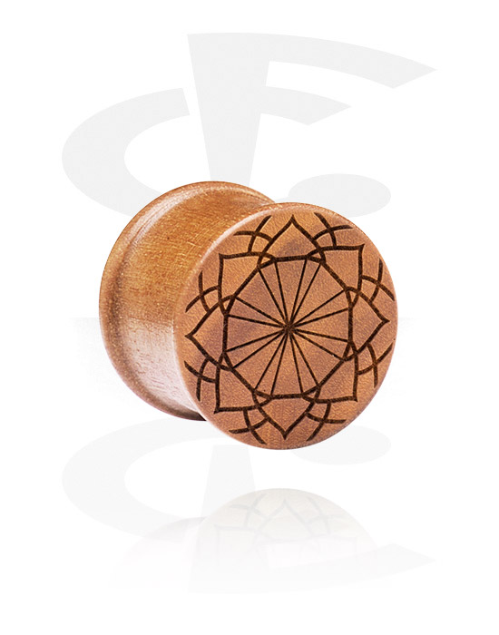 Tunnels & Plugs, Ribbed Plug met Laser Engraving, cherry wood