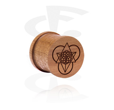 Tunnels & Plugs, Ribbed Plug met Laser Engraving, cherry wood