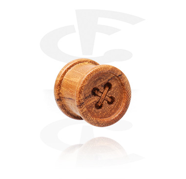 Tunnel & Plug, Double Flared Plug with Button Design, Wood