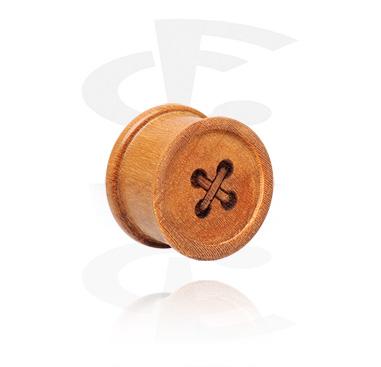 Tunele & plugi, Double Flared Plug with Button Design, Teak Wood