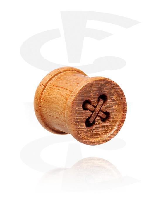 Tunele & plugi, Ribbed Plug, Drewno tekowe