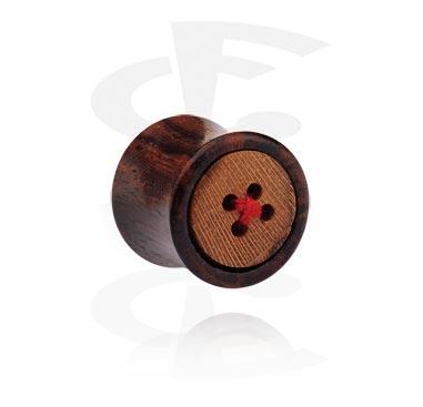 Double Flared Plug avec dessin de bouton