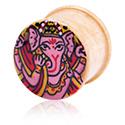 Tunnels & Plugs, Handpainted Ribbed Plug with Ganesha Design, Wood