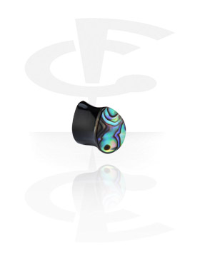 Tear-Shaped Flared Plug com Mother of Pearl Inlay