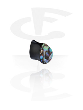 Tunnel & Plug, Flared plug a forma di goccia con inserto madre perla, Corno
