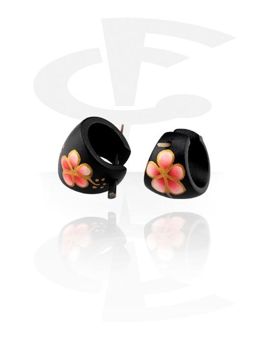 Kolczyki, Handpainted Earrings, Drewno