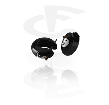 Handbemalte Ohrringe mit Yin-Yang Design