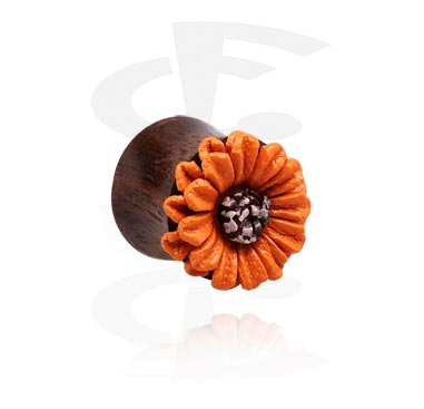 Double flared plug com acessório flor