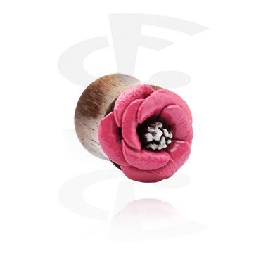 Tunnels & Plugs, Double Flared Plug avec accessoire de fleur, Bois, Cuir