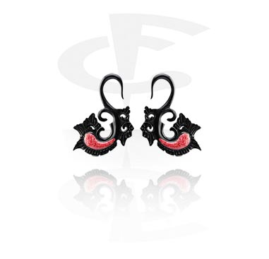 Accessori per dilatar, Claw Earring with Coral Inlay, Rosewood