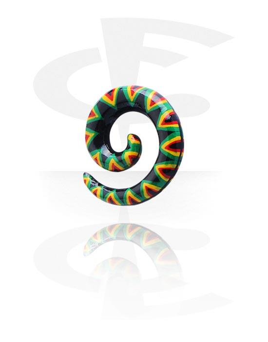 Dehnungszubehör, Handbemalte Spirale, Holz