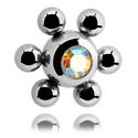 Pallot ja koristeet, Jeweled Flower Ball, Surgical Steel 316L