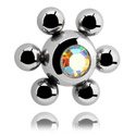 Ballen & Accessoires, Jeweled Flower Ball, Chirurgisch Staal 316L
