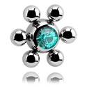 Pallot ja koristeet, Jeweled Flower Ball, Surgical Steel 316L