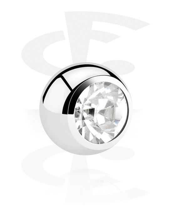 Kuličky, kolíčky a další, Ball s crystal stone, Chirurgická ocel 316L