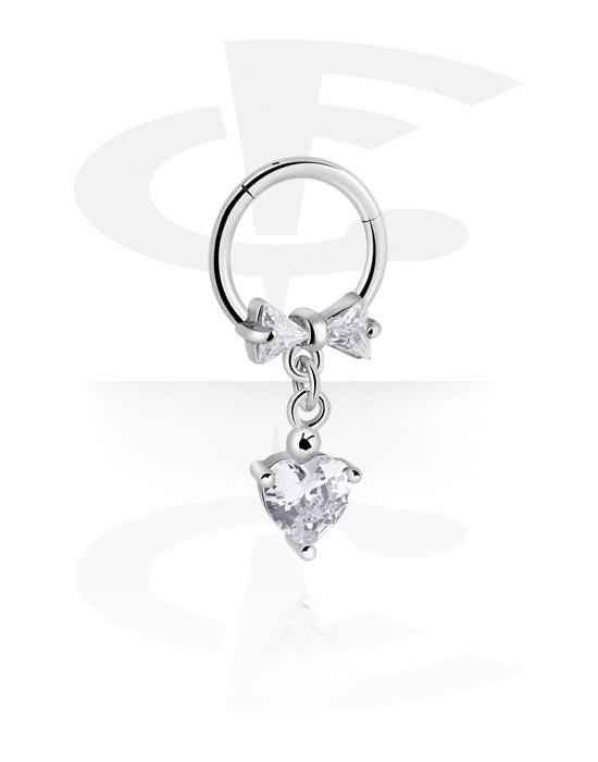 Alke za piercing, Višenamjenski kliker s heart pendant i crystal stones, Kirurški čelik 316L, Obloženi mesing
