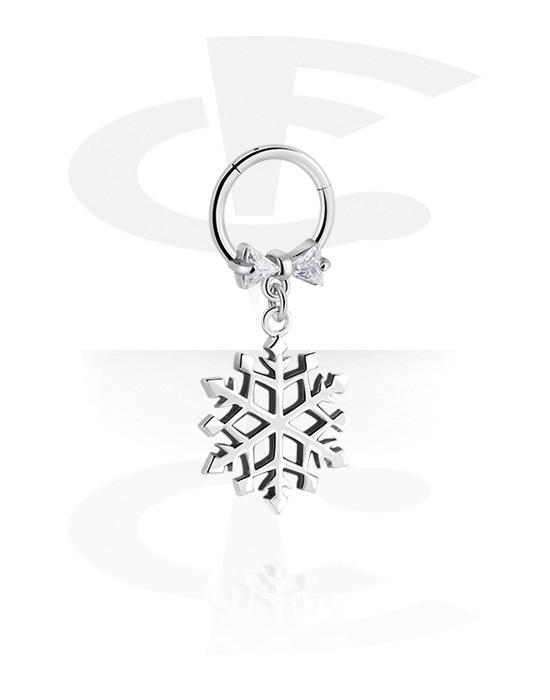 Renkaat, Monikäyttönipistin kanssa Snowflake Pendant ja crystal stones, Kirurginteräs 316L, Pinnoitettu messinki