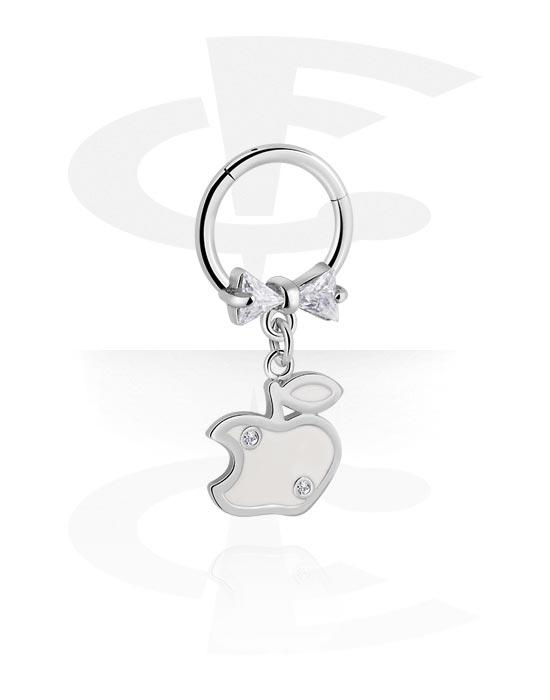 Renkaat, Monikäyttönipistin kanssa Apple Attachment ja crystal stones, Kirurginteräs 316L, Pinnoitettu messinki
