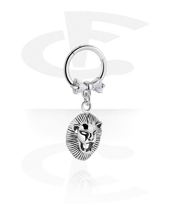 Renkaat, Monikäyttönipistin kanssa lion charm ja crystal stones, Kirurginteräs 316L, Pinnoitettu messinki
