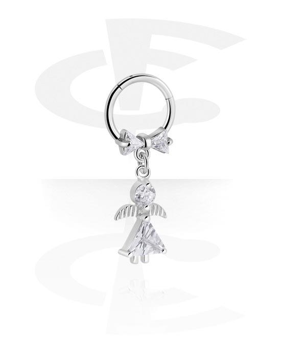 Alke za piercing, Višenamjenski kliker s angel pendant i crystal stones, Kirurški čelik 316L, Obloženi mesing