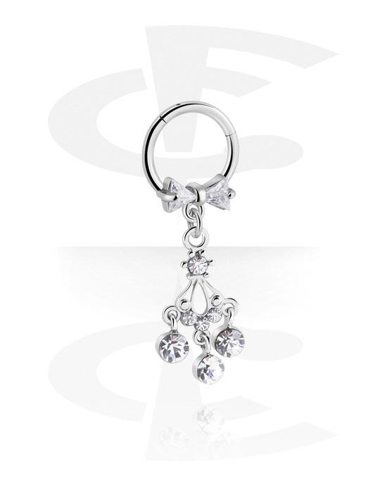 Renkaat, Monikäyttönipistin kanssa charm ja crystal stones, Kirurginteräs 316L, Pinnoitettu messinki
