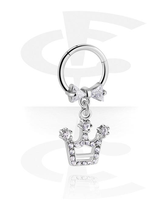 Alke za piercing, Višenamjenski kliker s crown charm i crystal stones, Kirurški čelik 316L ,  Obloženi mesing