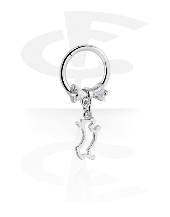 Renkaat, Monikäyttönipistin kanssa dog charm ja crystal stones, Kirurginteräs 316L ,  Pinnoitettu messinki