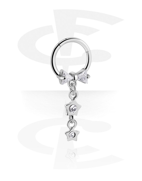 Renkaat, Monikäyttönipistin kanssa star charm ja crystal stones, Kirurginteräs 316L ,  Pinnoitettu messinki