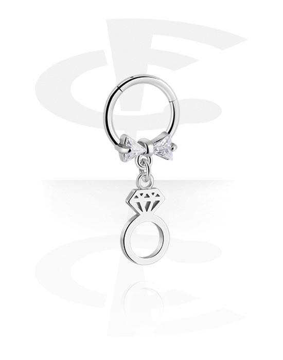 Renkaat, Monikäyttönipistin kanssa ring charm ja crystal stones, Kirurginteräs 316L ,  Pinnoitettu messinki