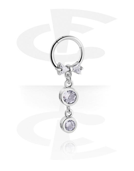 Alke za piercing, Višenamjenski kliker s charm i crystal stones, Kirurški čelik 316L ,  Obloženi mesing