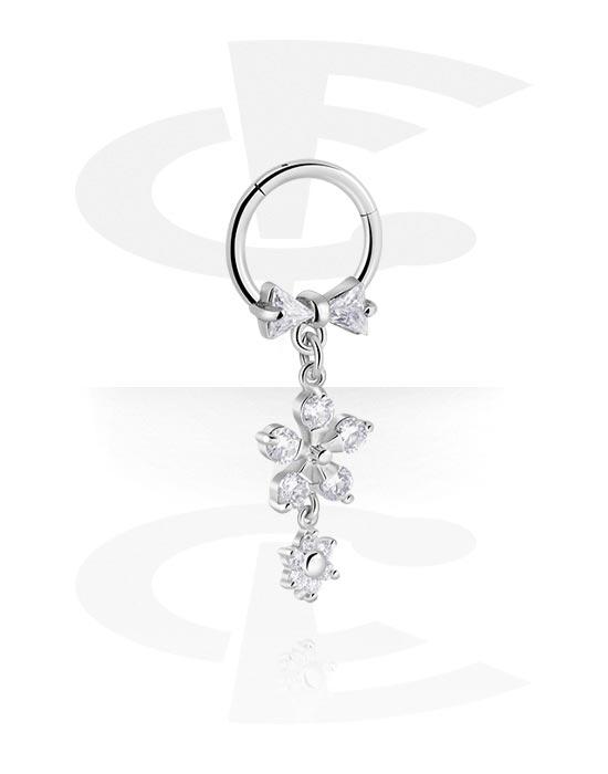 Renkaat, Monikäyttönipistin kanssa flower charm ja crystal stones, Kirurginteräs 316L ,  Pinnoitettu messinki