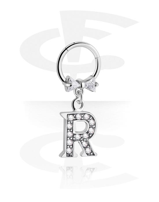 Alke za piercing, Višenamjenski kliker s letter charm i crystal stones, Kirurški čelik 316L ,  Obloženi mesing