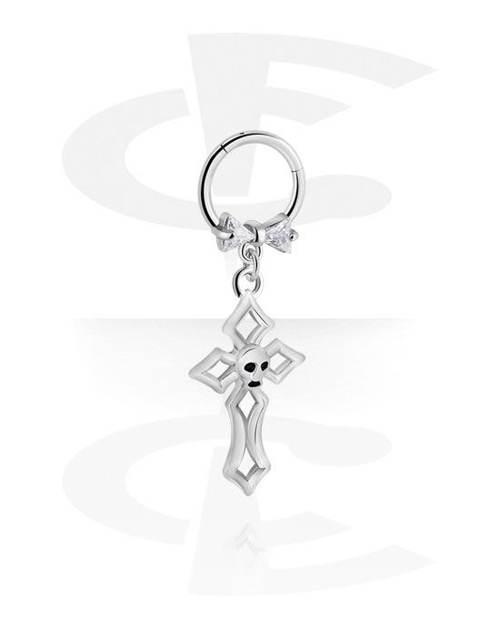 Alke za piercing, Višenamjenski kliker s cross charm i crystal stones, Kirurški čelik 316L ,  Obloženi mesing