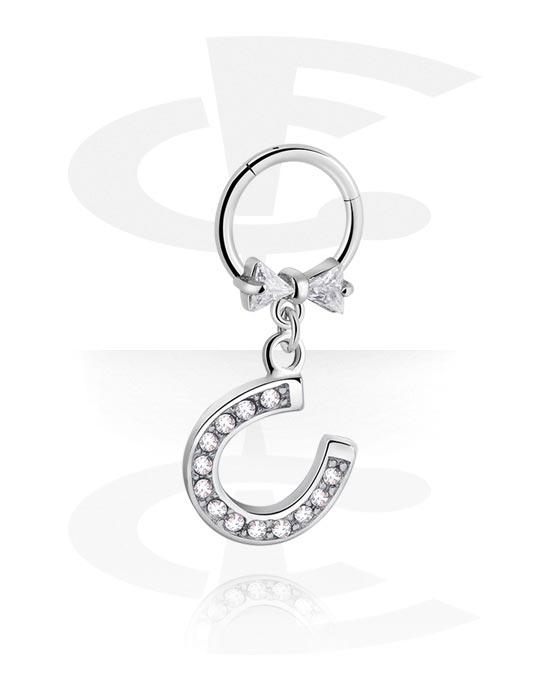 Renkaat, Monikäyttönipistin kanssa horseshoe charm ja crystal stones, Kirurginteräs 316L ,  Pinnoitettu messinki