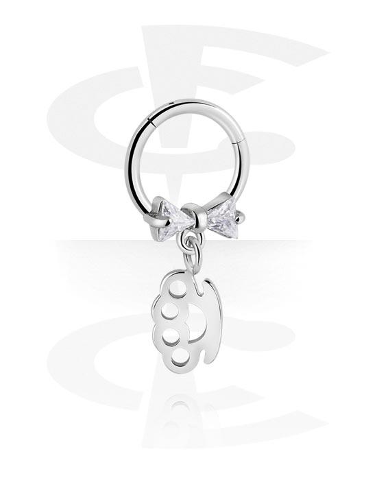 Renkaat, Monikäyttönipistin kanssa brass knuckles charm ja crystal stones, Kirurginteräs 316L ,  Pinnoitettu messinki