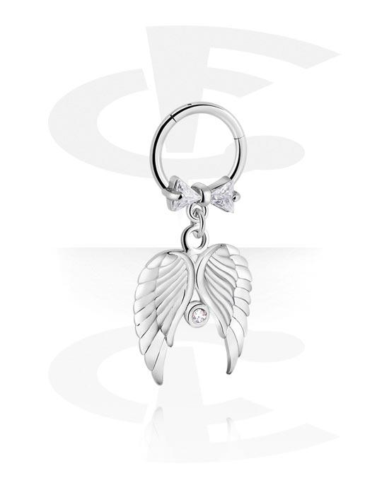 Piercingringen, Jeweled Hinged Segment Ring met feather attachment, Chirurgisch staal 316L, Belegde messing
