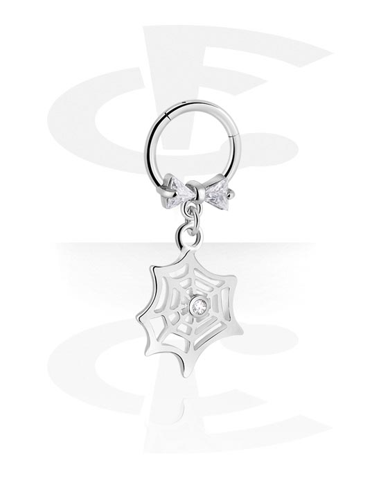 Alke za piercing, Višenamjenski kliker s Spiderweb pendant i crystal stones, Kirurški čelik 316L ,  Obloženi mesing
