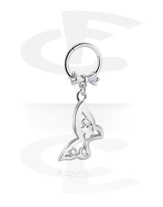 Alke za piercing, Višenamjenski kliker s butterfly attachment i crystal stones, Kirurški čelik 316L ,  Obloženi mesing