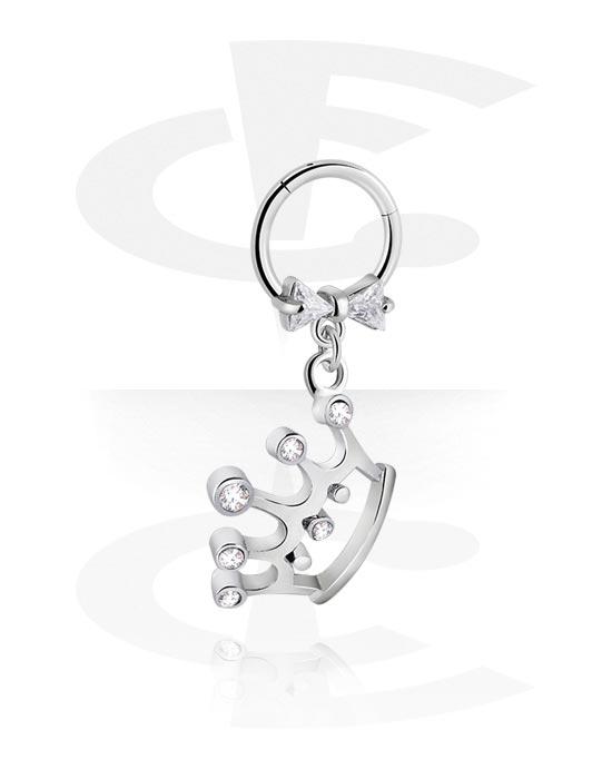 Piercingringen, Jeweled Hinged Segment Ring met Kroondesign, Chirurgisch staal 316L, Belegde messing