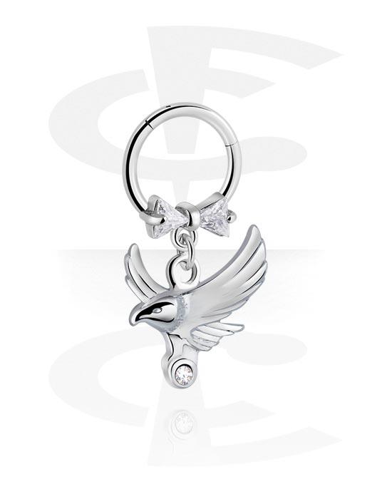 Renkaat, Monikäyttönipistin kanssa Bird attachment ja crystal stones, Kirurginteräs 316L ,  Pinnoitettu messinki