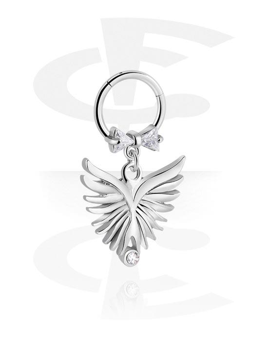 Renkaat, Monikäyttönipistin kanssa wing charm ja crystal stones, Kirurginteräs 316L ,  Pinnoitettu messinki