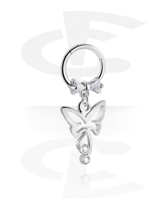 Renkaat, Monikäyttönipistin kanssa butterfly attachment ja crystal stones, Kirurginteräs 316L ,  Pinnoitettu messinki