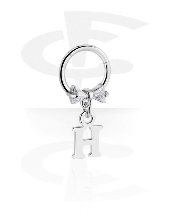 Renkaat, Monikäyttönipistin kanssa letter charm ja crystal stones, Kirurginteräs 316L ,  Pinnoitettu messinki