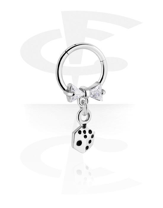 Alke za piercing, Višenamjenski kliker s dice charm i crystal stones, Kirurški čelik 316L ,  Obloženi mesing